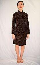 ST JOHN Griffith Gray Brown Black 100% Suede Brocade Blazer Skirt Suit Size 2/4