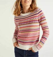 XS Boden Louise Fair Isle Sweater striped pink Wool Cotton Cashmere NWT