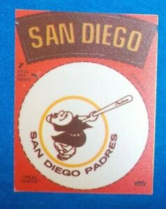 """1969-72 FLEER SAN DIEGO PADRES Banner Swingin' Padre Mascot """"REAL CLOTH"""" patches"""