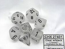 Chessex Dice: Polyhedral 7-Die Frosted Dice Set - Clear W/black CHX 27401