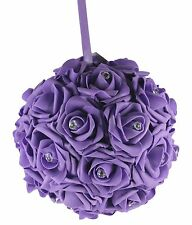 "8"" PURPLE Hanging Foam Pomander Kissing Rose Wedding Ball w/ Acrylic Diamonds"