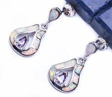 """AMETHYST & WHITE OPAL  .925 Sterling Silver Earring .75"""""""