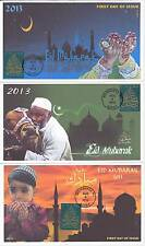 JVC CACHETS -SET OF 3 -2013 EID HOLIDAY ISSUE FIRST DAY COVER FDC - EID MUBARAK!