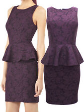 Warehouse Purple Lace Zip Back Peplum Bodycon Occasion Dress - Size 14