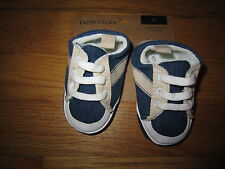 Infant Faded Glory Blue/Tan Crib Shoes Size 2 3-6 Months New