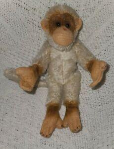 """Steiff Vintage White Jocko Monkey/ Chimpanzee, 7"""" Tall, No Button or Tags"""