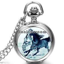 Running Horse Pattern Silver Tone Round Pocket Quartz Watch Pendant Necklace