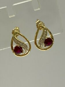 9ct 9K Yellow Gold Stud Earrings Created Ruby | 1.6 Grams | Brand New Instore