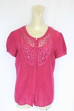 Womens Size 14 Pink Embroidered Top - Jacqui. E