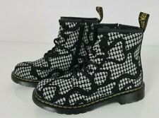 Dr Martens Delaney Glow Black White Boots Kids Small Ladies Size 2 UK 34 EUR NEW