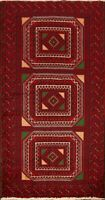 Nomad Geometric Balouch Oriental Wool Area Rug Hand-Knotted Tribal 3'x6' Carpet