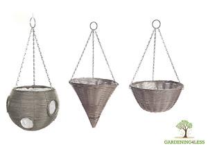 "9"" 14"" Large Easy Fill Rattan Effect Hanging Basket Ball Cone Garden Light Grey"