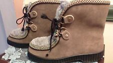 Vintage Shearling Lined Nordic Print Lace Up Ankle Boots sz 7 nice for winter