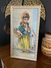 Vintage Retro 1960s Dallas Simpson Flower Girl Framed Print Big Eyed Girl Kitsch