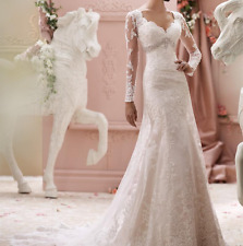 New White/Ivory Lace Wedding Dress with Long Sleeves Jewel Belt & Chapel Train