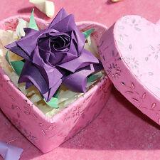 Handmade origami fleur rose + coeur boîte. anniversaire de mariage, anniversaire cadeau