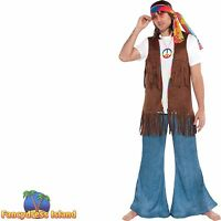 HIPPIE 60'S FAUS SUEDE FRINGE WAISTCOAT WITH TRIM - one size mens fancy dress