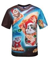 Christmas Cats riding Pizza in Space T-Shirt (funny astronaut cats t shirt)
