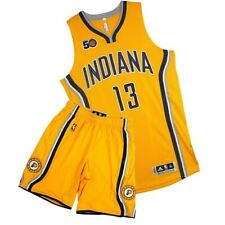 Paul George Adidas Indiana Pacers Authentic Gold On-Court Rev Jersey & Shorts XL