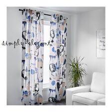 "Pair of IKEA Curtains 2 panels Cotton Ramie Blue White Beige Curtains 57 x 98"""