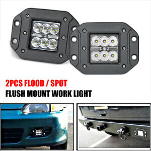 2X 18W Flush Mount LED Work Light Bar Spot Flood Pod Driving Fog Offroad 4WD SUV