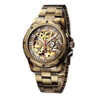SHENHUA Mens Self Winding Mechanical Wrist Watch Steel Leather Band Business