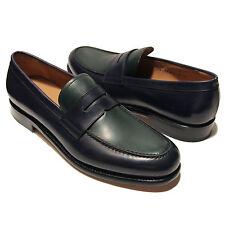FERRAGAMO Rinaldo 10 D 43 TRAMEZZA Navy Blue Green Leather Penny Dress Loafers