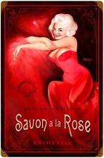 Savon Rose Pin Up Girl Vintage Distress Metal Sign Home Wall Decor BVL033