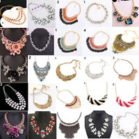 EG_ Women Jewelry Pendant Crystal Choker Chunky Statement Chain Bib Necklace Fas