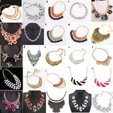 EG_ Women Jewelry Pendant Crystal Choker Chunky Statement Chain Bib Necklace Fas