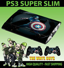 PLAYSTATION PS3 super fin Captain America 001 AVENGER SKIN AUTOCOLLANT & 2 Pad
