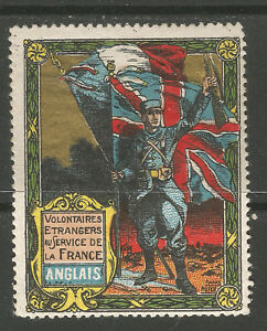 France/WWI English Foreign Volunteers DELANDRE poster stamp/label