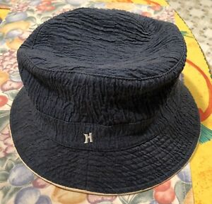 Hermes Women Hat Linen Blue Size 56