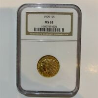 1909 $5 Indian Head Half Eagle Gold Coin NGC MS62