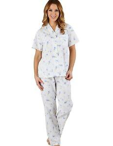 Slenderella PJ1207 Floral Blue 100% Cotton Pyjama Set 16/18