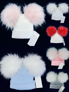 Wee Me Stunning Baby Girls Boy Faux Double Fur Pom Hat/Mega Fur Pom/All Colours