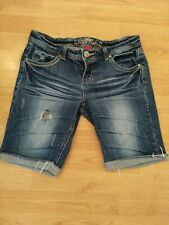 Womens Juniors Almost Famous Stretch Low Rise Bermuda Denim Jeans Shorts Size 9
