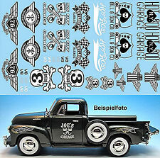 Hot Rod Garage Decals schwarz-weiß 1:18 Decal Abziehbilder