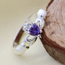 Women's Fashion silver Heart Amethyst ring size 8   W/ Pyramid candle
