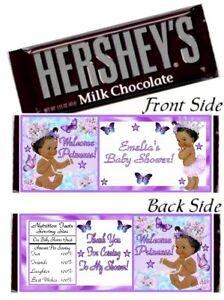 12 Ethnic Princess Baby Shower Hershey Candy Bar Wrappers Purple Birthday Party