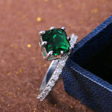 Engagement Ring For Women Size 7 Elegant Emerald Rings Jewelry 925 Silver