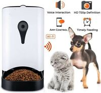 Automatic Pet Feeder with HD Camera 4 Meals Programmable Timer for Dog & Cat