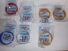 LOT OF 7 SHOW YOUR COLORS FLAG BRACELETS COLUMBIA, CUBA, HONDURAS, BRAZIL
