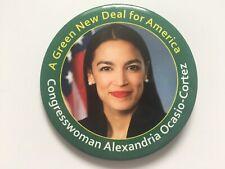 "Congresswoman Alexandria Ocasio-Cortez 3"" Button ""A Green New Deal for America"""