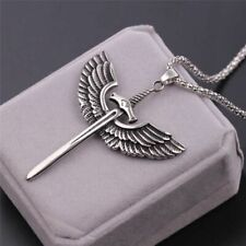 Archangel Michael Sword Angel Wing Stainless Steel Silver Necklace Men Pendant