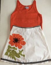 Boutique Haven Girl Orange Tank and Flower Skirt Girl Sz. 10/12 EXC