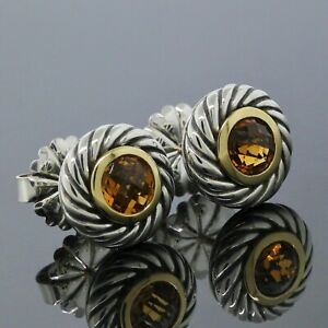 David Yurman 925 Silver 18K Yellow Gold Citrine Cookie Cable Stud Earrings