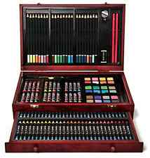 142 Piece Deluxe Wood Case Artist Set Kids Pastels Drawing Painting Sketch Art
