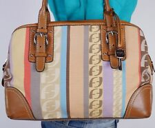 FOSSIL Medium Multicolor Canvas  Leather Shoulder Hobo Tote Satchel Purse Bag