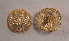 "Set of 6 JHB Gold Round Metal Buttons Filigree Celtic Cross 7/8"" 22 mm lyk0051"